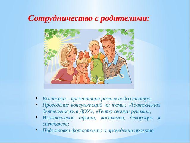 Сотрудничество с родителями: Выставка – презентация разных видов театра; Пров...
