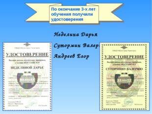 Неделина Дарья Сутормин Валерий Андреев Егор По окончание 3-х лет обучения по