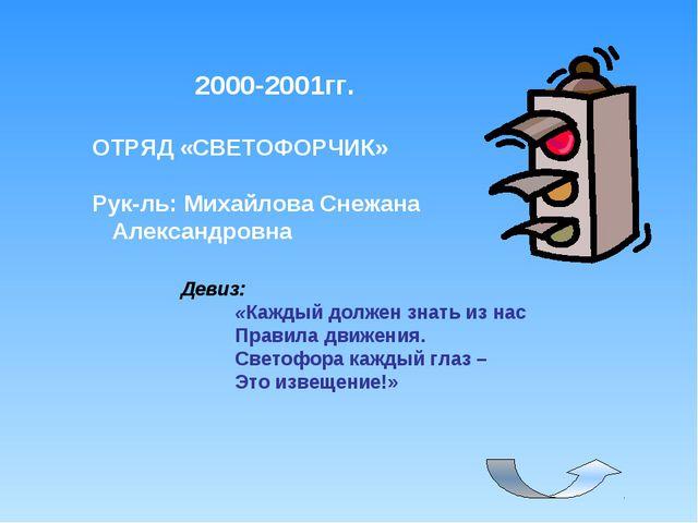 2000-2001гг. ОТРЯД «СВЕТОФОРЧИК» Рук-ль: Михайлова Снежана Александровна Деви...