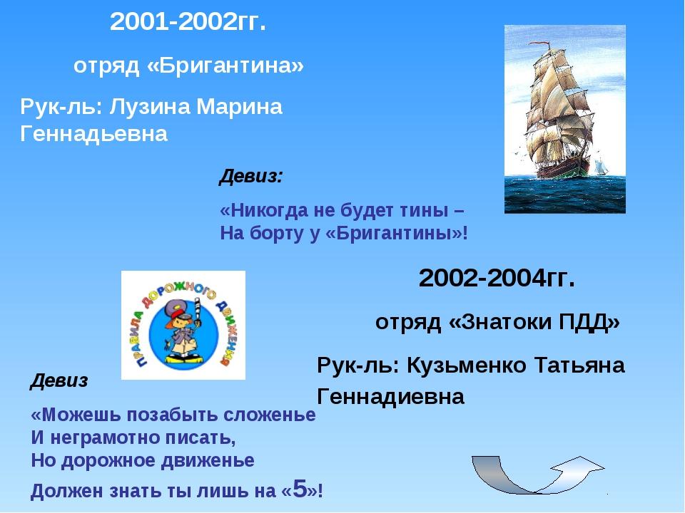 2001-2002гг. отряд «Бригантина» Рук-ль: Лузина Марина Геннадьевна Девиз: «Ник...