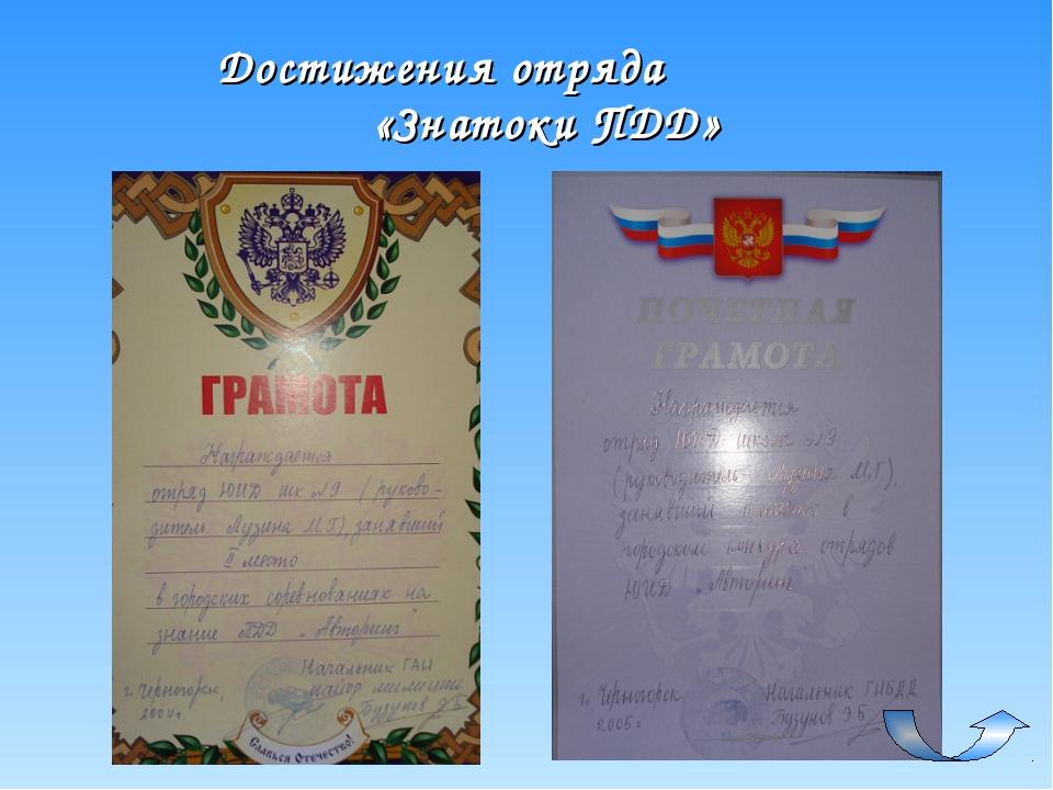 Достижения отряда «Знатоки ПДД»