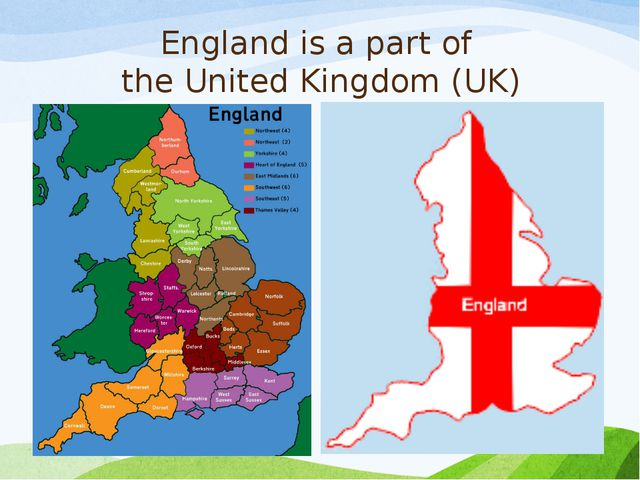 England is a part of the United Kingdom (UK)