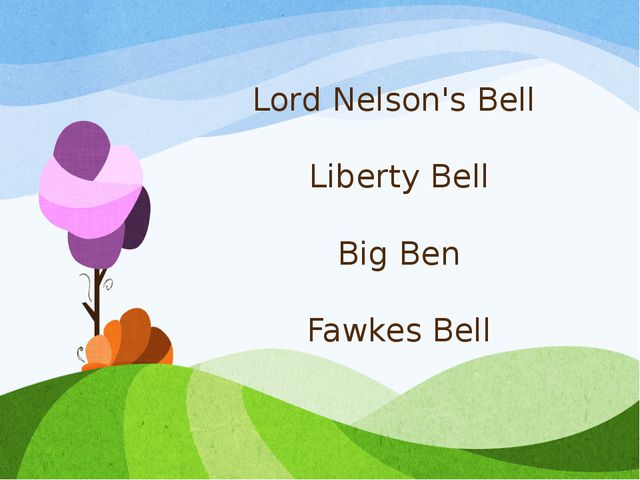 Lord Nelson's Bell Liberty Bell Big Ben Fawkes Bell