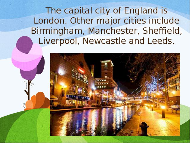 The capital city of England is London. Other major cities include Birmingham,...