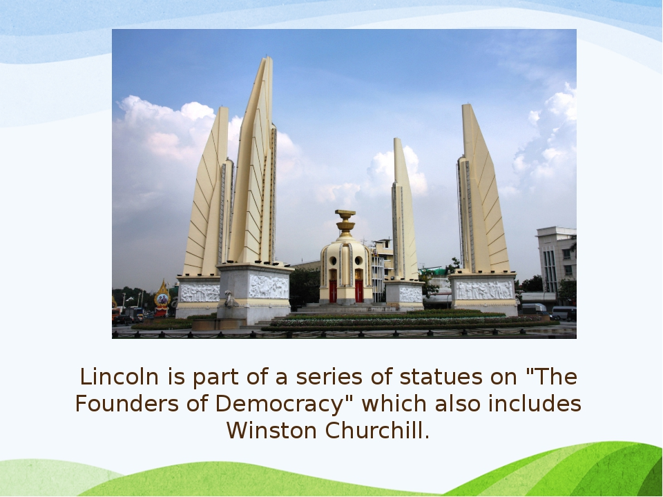 """Lincoln is part of a series of statues on """"The Founders of Democracy"""" which a..."""