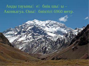 Анды тауының ең биік шыңы – Аконкагуа. Оның биіктігі 6960 метр.