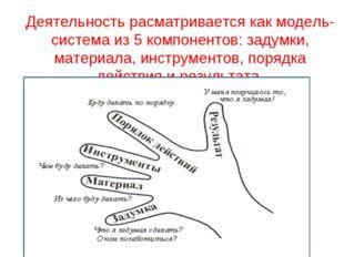 Деятельность расматривается как модель- система из 5 компонентов: задумки, ма