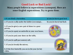 Good Luck or Bad Luck? Many people believe in superstitions (суеверия). Here