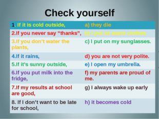 """Check yourself 1. If it is cold outside, a) they die 2.If you never say """"than"""