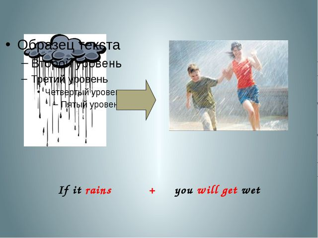 If it rains + you will get wet
