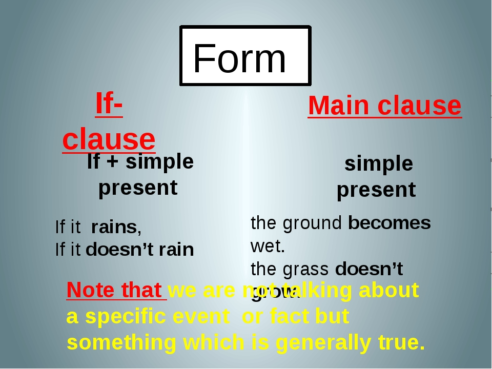 Form If-clause Main clause If + simple present simple present If it rains, If...