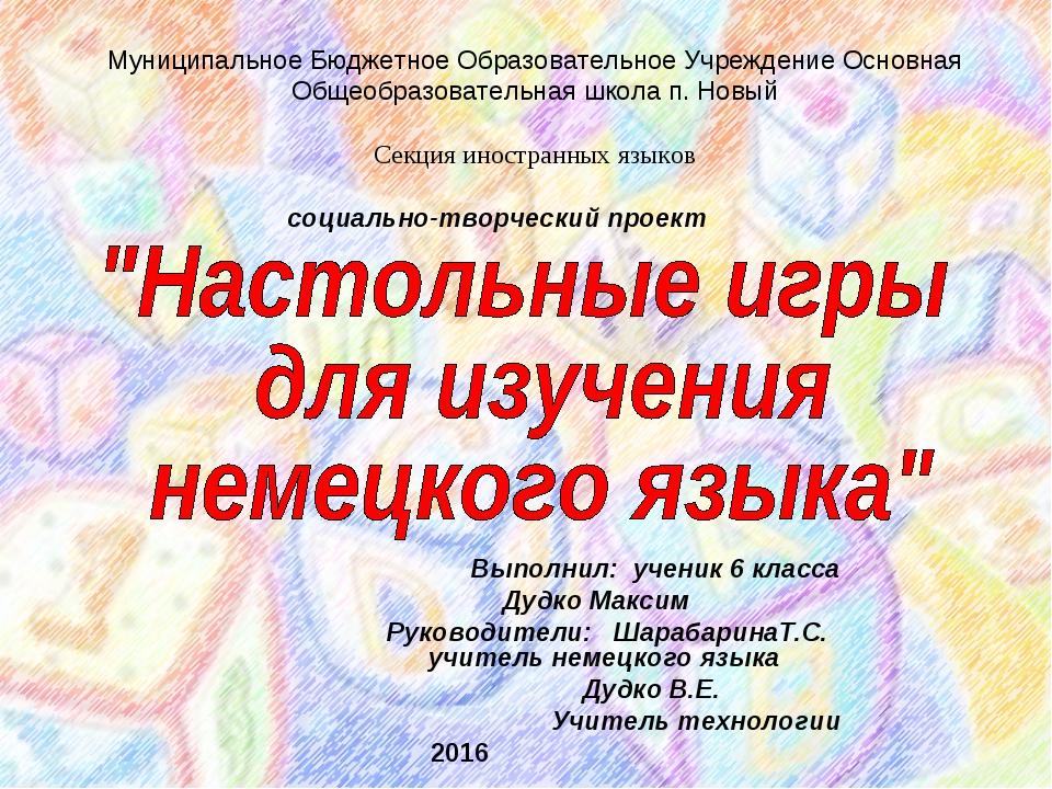 Выполнил: ученик 6 класса Дудко Максим Руководители: ШарабаринаТ.С. учитель...