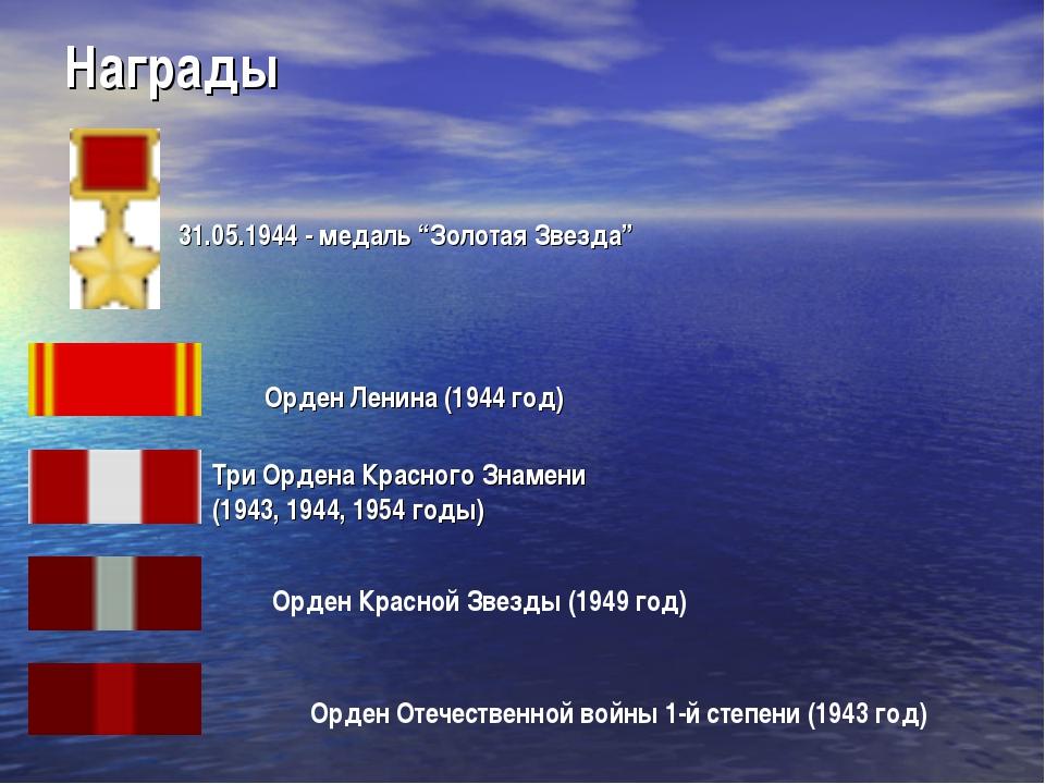 """Награды 31.05.1944 - медаль """"Золотая Звезда"""" Орден Ленина (1944 год) Три Орде..."""