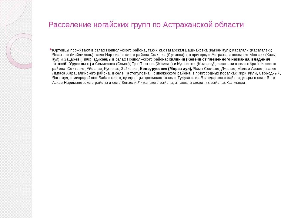 Расселение ногайских групп по Астраханской области Юртовцы проживают в селах...