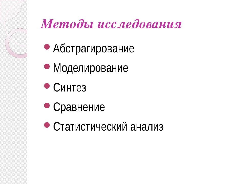 Методы исследования Абстрагирование Моделирование Синтез Сравнение Статистиче...