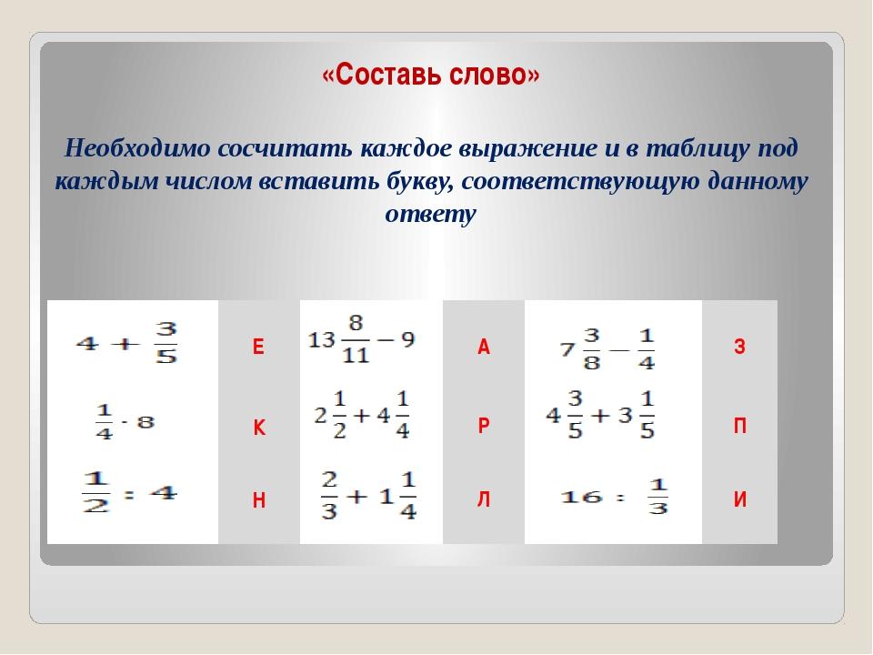 «Составь слово» Необходимо сосчитать каждое выражение и в таблицу под каждым...