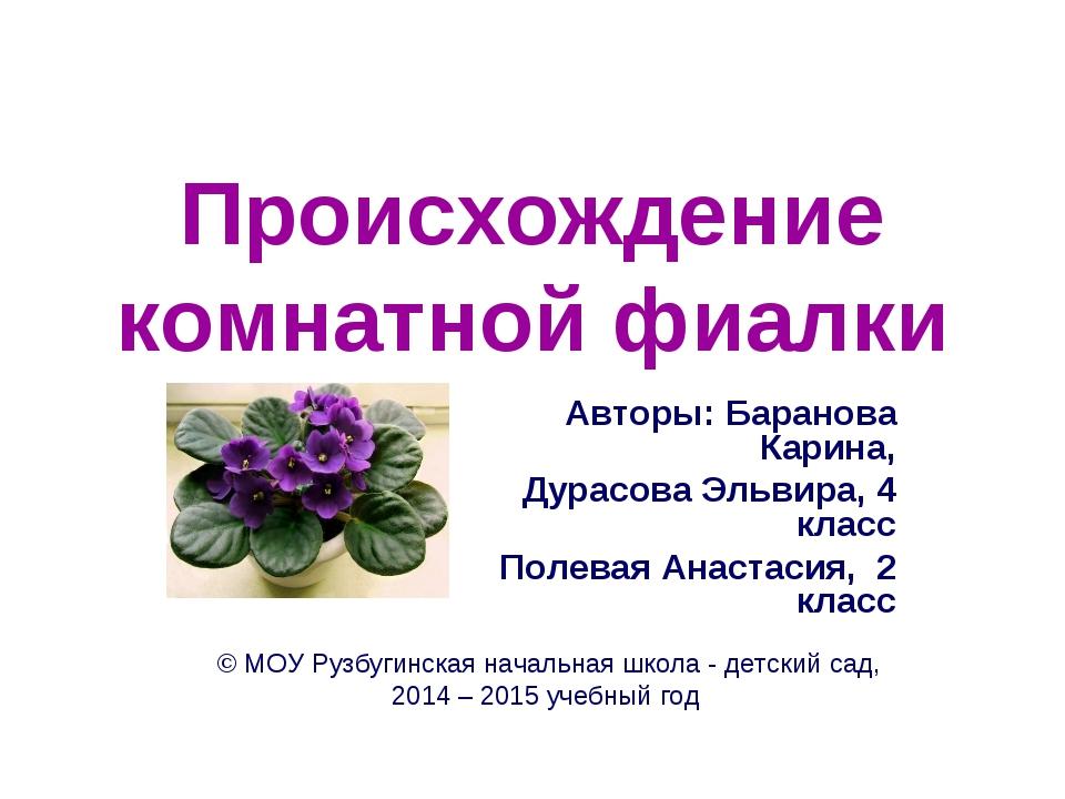 Происхождение комнатной фиалки Авторы: Баранова Карина, Дурасова Эльвира, 4 к...