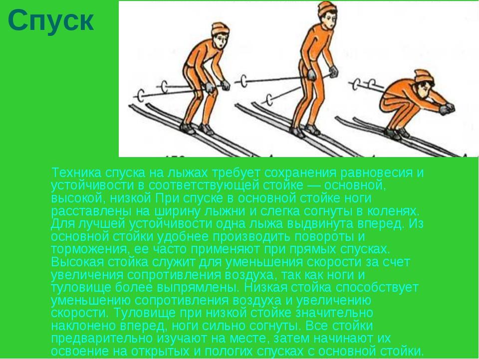 Спуск Техника спуска на лыжах требует сохранения равновесия и устойчивости в...