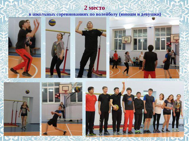 2 место в школьных соревнованиях по волейболу (юноши и девушки)