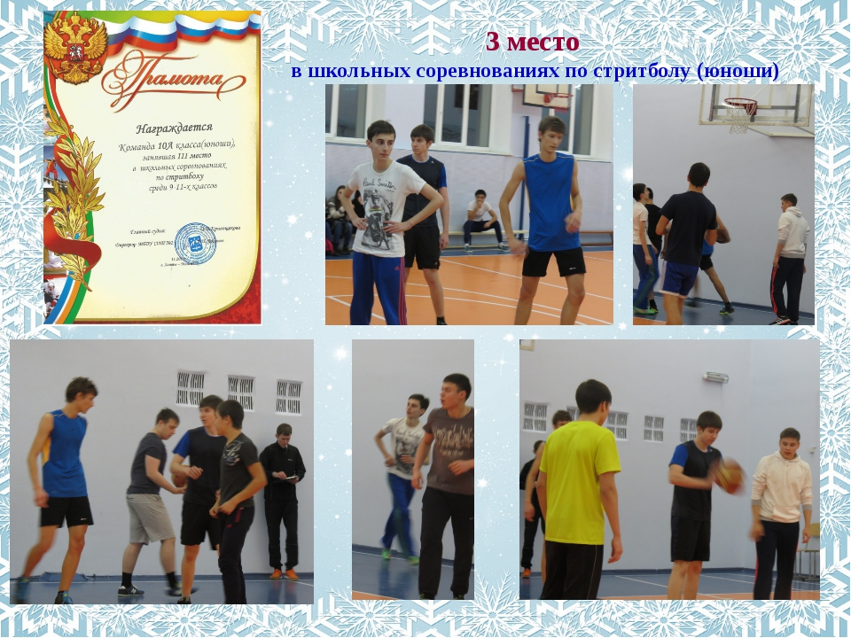 3 место в школьных соревнованиях по стритболу (юноши)