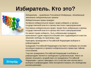 Избиратель. Кто это? Избиратель – гражданин Российской Федерации, обладающий