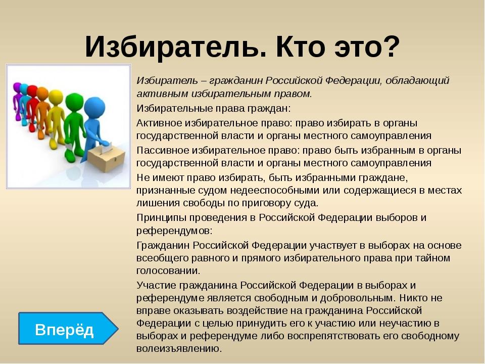 Избиратель. Кто это? Избиратель – гражданин Российской Федерации, обладающий...