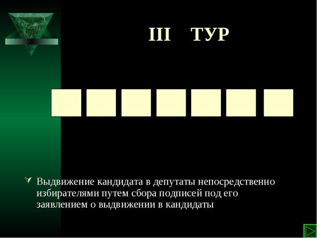 III ТУР Выдвижение кандидата в депутаты непосредственно избирателями путем сб...