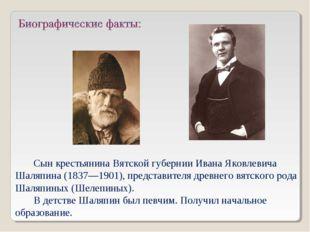 Сын крестьянина Вятской губернии Ивана Яковлевича Шаляпина (1837—1901), предс