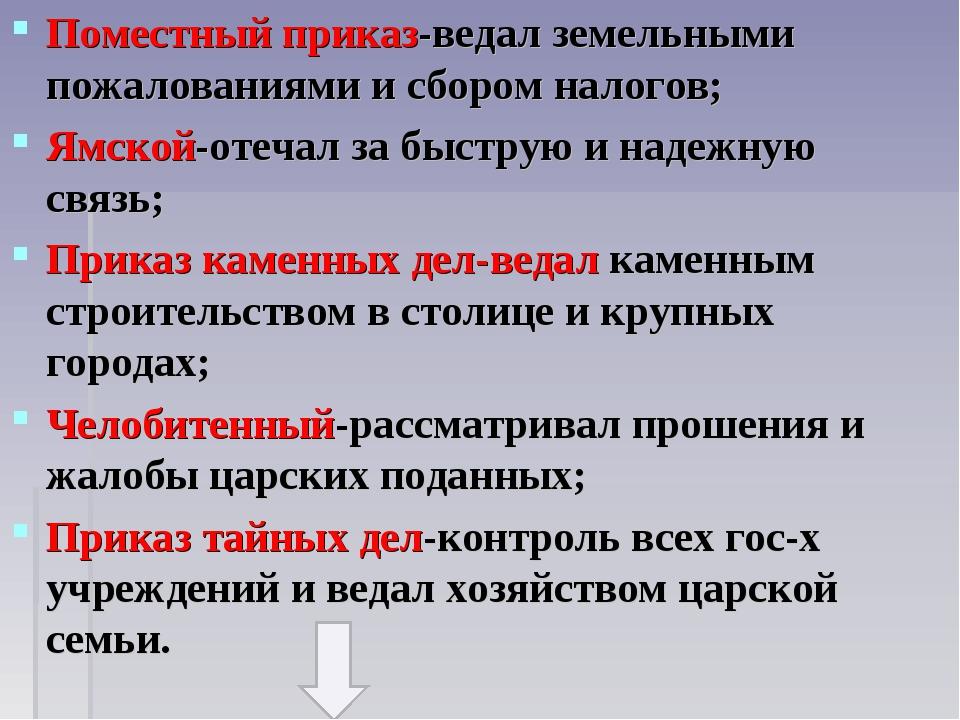 Поместный приказ-ведал земельными пожалованиями и сбором налогов; Ямской-отеч...