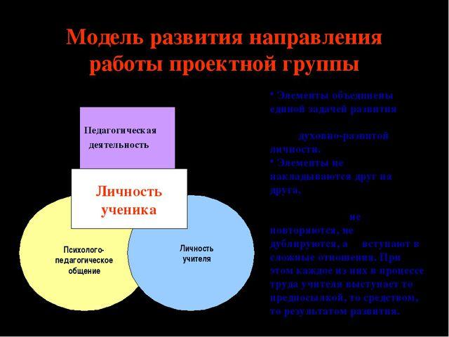 Модель развития направления работы проектной группы Педагогическая деятельнос...