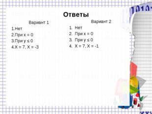 Ответы Вариант 1 Нет При x = 0 При y ≤ 0 X = 7, X = -3 Вариант 2 Нет При x =