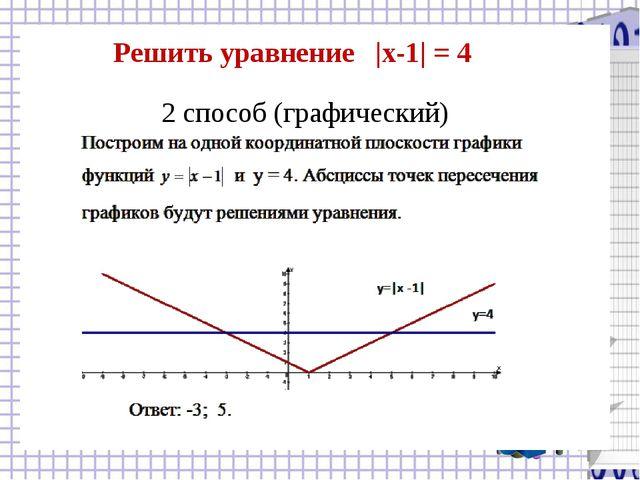 2 способ (графический) Решить уравнение |x-1| = 4