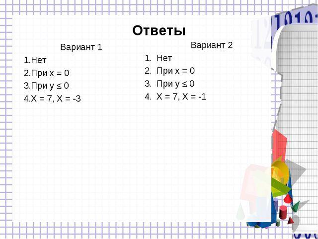 Ответы Вариант 1 Нет При x = 0 При y ≤ 0 X = 7, X = -3 Вариант 2 Нет При x =...