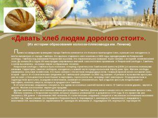 «Давать хлеб людям дорогого стоит». (Из истории образования колхоза-племзавод