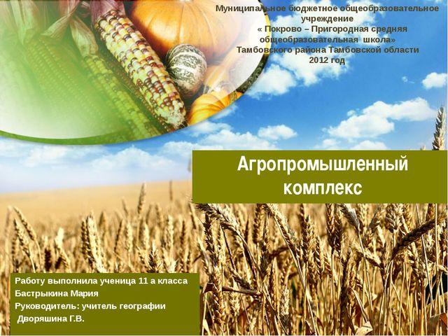 Агропромышленный комплекс Работу выполнила ученица 11 а класса Бастрыкина Мар...