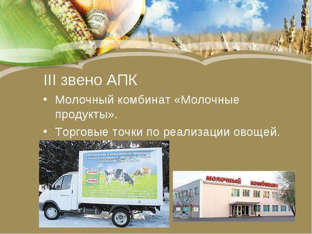 III звено АПК Молочный комбинат «Молочные продукты». Торговые точки по реализ...