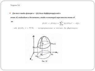 Теорема №1 Для того чтобы функция w = f(x) была дифференцируемой в точке x0,