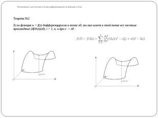 Необходимые и достаточные условия дифференцируемости функции в точке Теорема