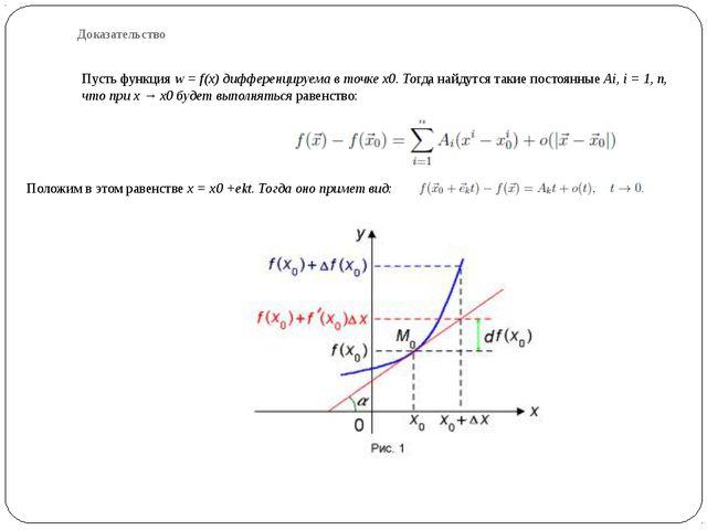 Доказательство Пусть функция w = f(x) дифференцируема в точке x0. Тогда найду...
