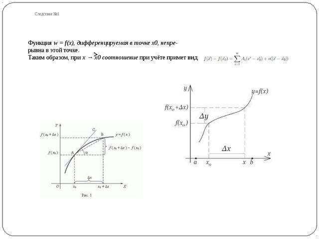 Следствие №1 Функция w = f(x), дифференцируемая в точке x0, непре- рывна в эт...