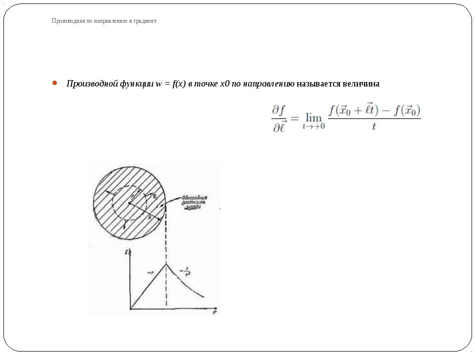 Производная по направлению и градиент Производной функции w = f(x) в точке x0...
