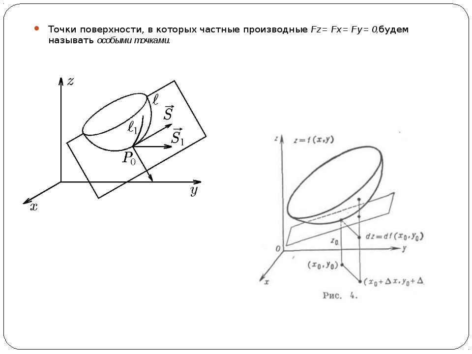 Точки поверхности, в которых частные производные Fz = Fx = Fy = 0,будем назыв...