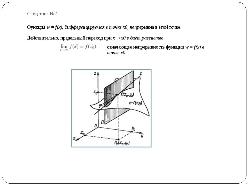 Следствие №2 Функция w = f(x), дифференцируемая в точке x0, непрерывна в этой...