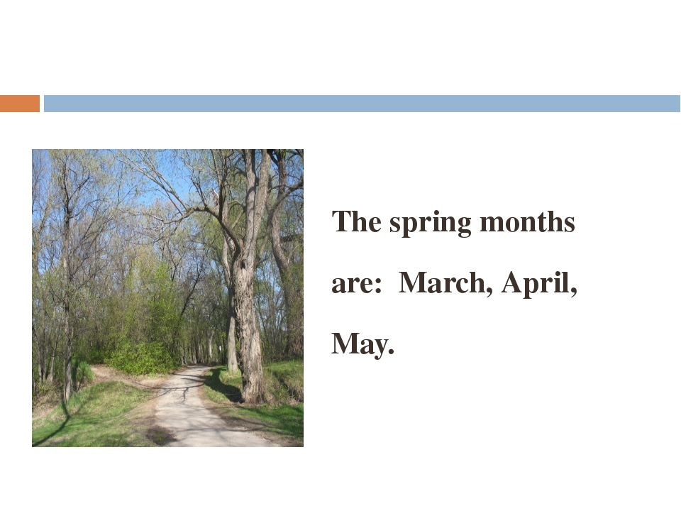 The spring months are: March, April, May.