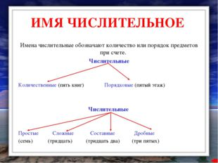 ИМЯ ЧИСЛИТЕЛЬНОЕ Имена числительные обозначают количество или порядок предмет