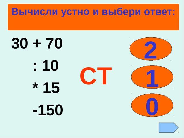 Вычисли устно и выбери ответ: 30 + 70 : 10 * 15 -150 2 1 0 СТ