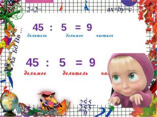 45 : 5 = 9 делитель делимое частное 45 : 5 = 9 делимое делитель частное