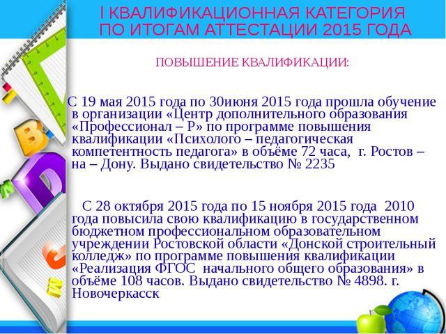 I КВАЛИФИКАЦИОННАЯ КАТЕГОРИЯ ПО ИТОГАМ АТТЕСТАЦИИ 2015 ГОДА ПОВЫШЕНИЕ КВАЛИФИ...