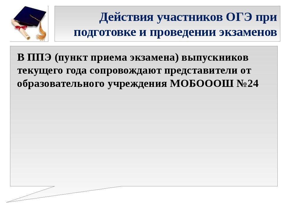 Действия участников ОГЭ при подготовке и проведении экзаменов В ППЭ (пункт пр...