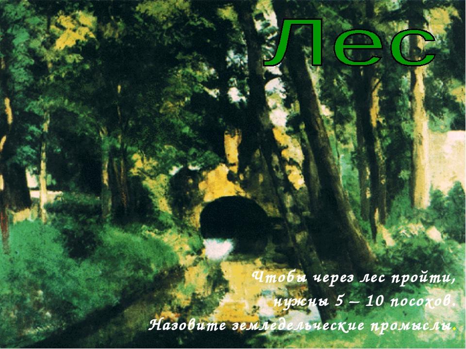 Чтобы через лес пройти, нужны 5 – 10 посохов. Назовите земледельческие промы...